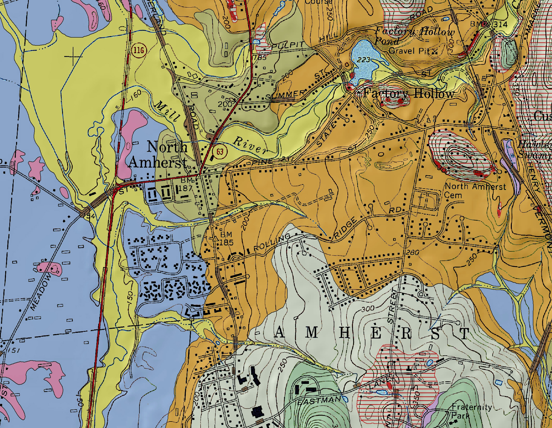 graphic a part of the surficial geologic map of the mount toby quadrangle shown